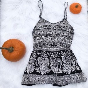 Angie White and Black Print Large Romper